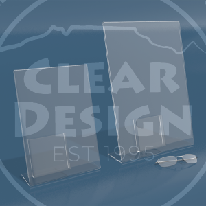 Acrylic Single Side Lean Back Graphic Frame with DL Brochure Pocket Attached