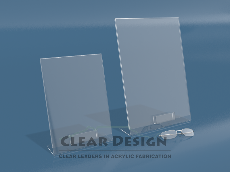 Acrylic Single Side Lean back Graphic Frame with Business Card Pocket
