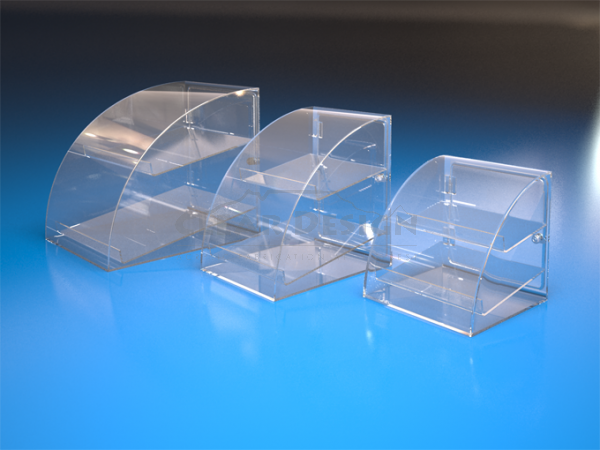 Counter Standing Curved Display Case - Clear Case