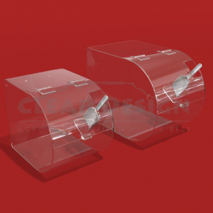 Curved Single Compartment Bins with Scoop Pocket