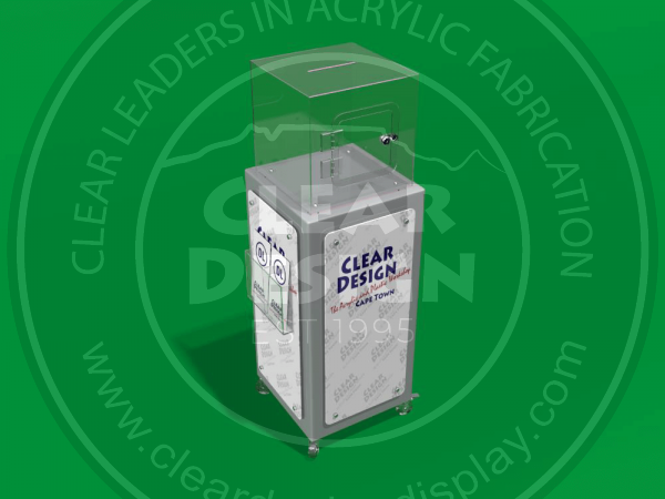 Floor standing Collection box with Large Advertising side panels and brochure pocket