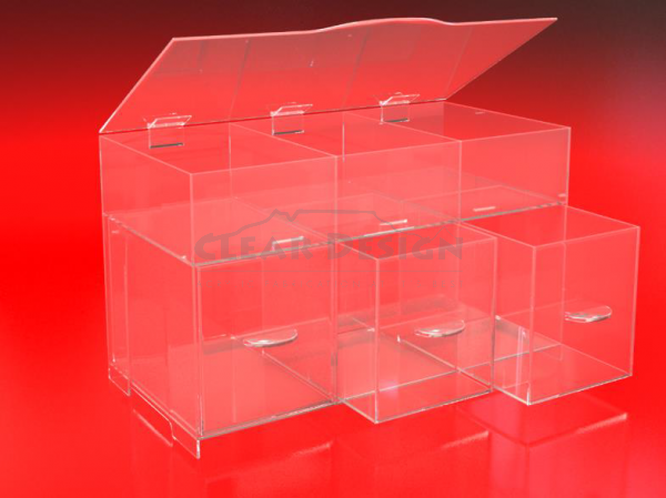 Multi Compartment storage box with pull out drawers